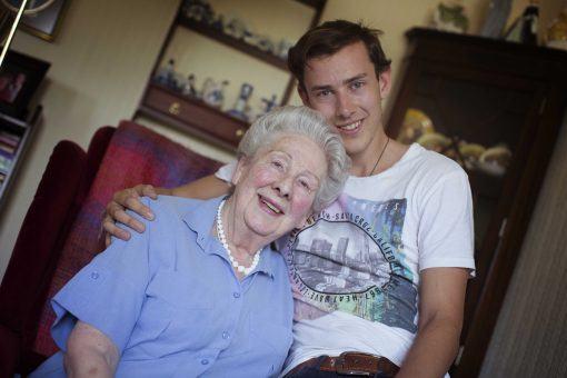 Mrs Kingsley and her grandson